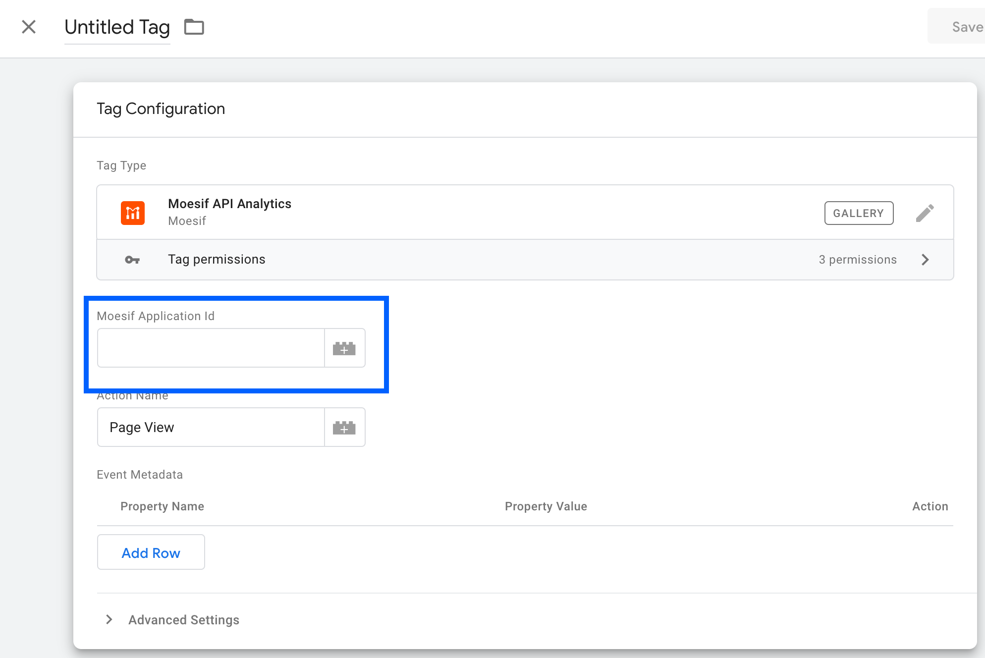 Add Moesif in Google Tag Manager