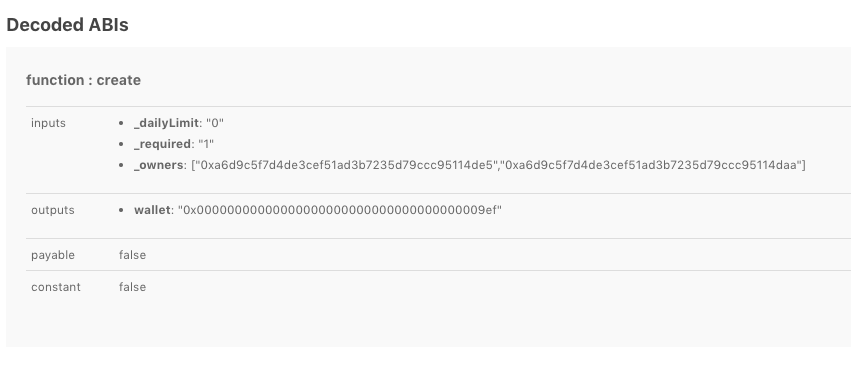 example of a decoded smart contract function call